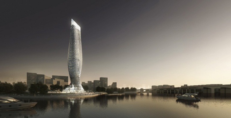 1400 aluminiowych łusek zostanie umieszczonych na wieży w kształcie ryby